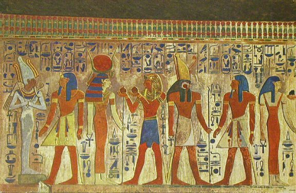 Seti Pictured With Osiris, Isis, Horus And Nephthys